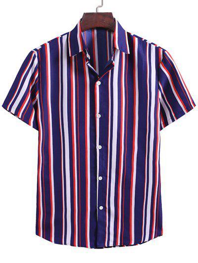Camisa Rayada Contraste Estampado Botón - Azul Oscuro De Denim Xl