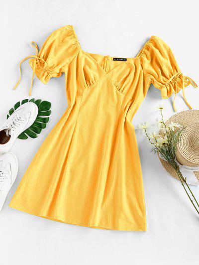 ZAFUL Puff Sleeve Ruffle Bowknot Mini Dress - Yellow M