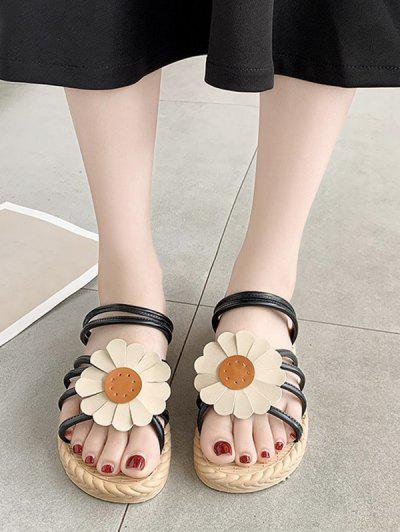 Sunflower Convertible Strap Flat Sandals - Black Eu 40