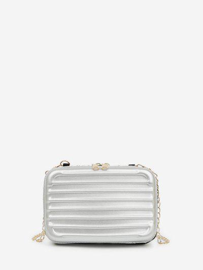 Suitcase Shape Chain Crossbody Bag - Light Gray