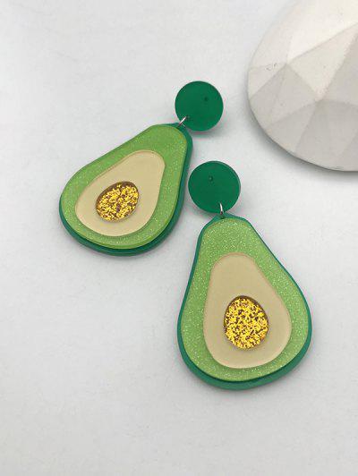 Cartoon Avocado Shape Glitter Drop Earrings - Yellow Green