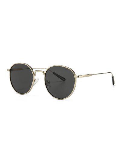 Óculos Retro De Polarização Redonda Com Moldura Metálica - Platina