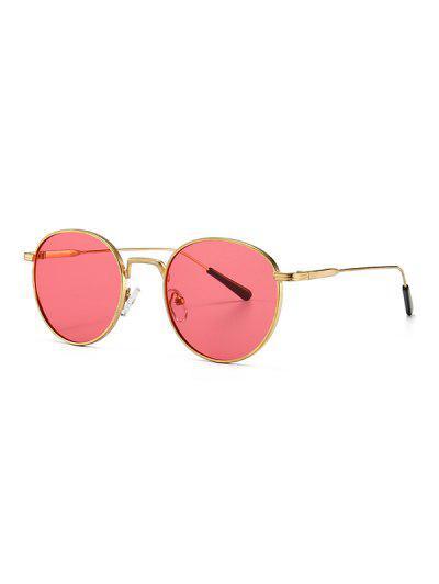 Retro Metall Runde Sonnenbrille - Dunkelrosa