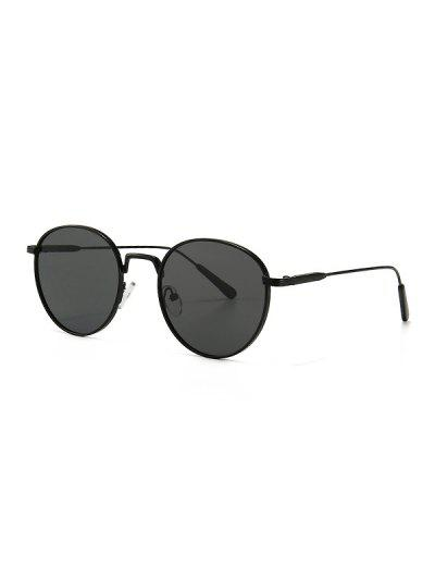 Retro Metal Round Sunglasses - Black