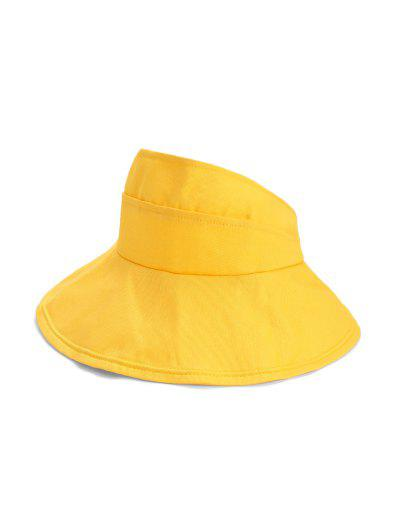 Foldable Sunproof Solid Wide Brim Visor Hat - Bright Yellow