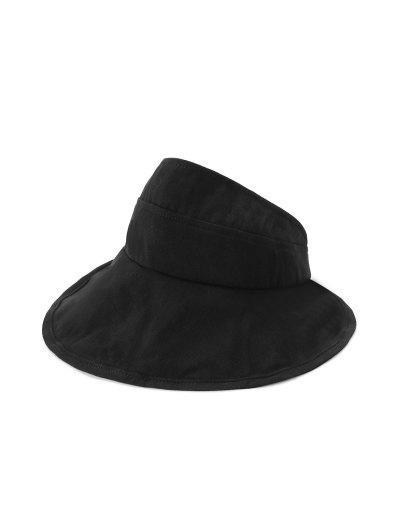 Foldable Sunproof Solid Wide Brim Visor Hat - Black