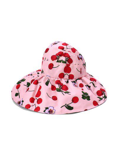 Large Brimmed Sunscreen UV Vinyl Flower Printed Visor Cap - Pink