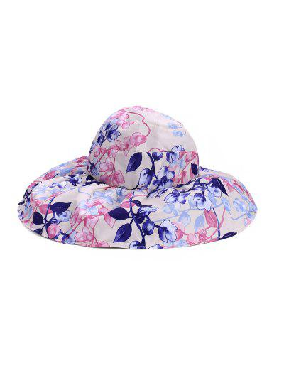 Foldable Flower Pattern Summer UV Protection Visor Cap - Warm White