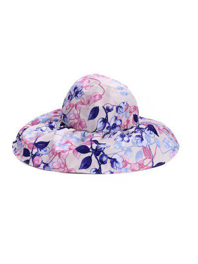 Foldable Flower Pattern Summer UV Protection Visor Cap - Warm White