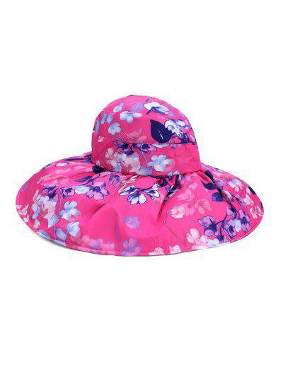 Foldable Flower Pattern Summer UV Protection Visor Cap - Rose Red
