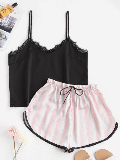Striped Lace Insert Pajama Shorts Set - Light Pink S