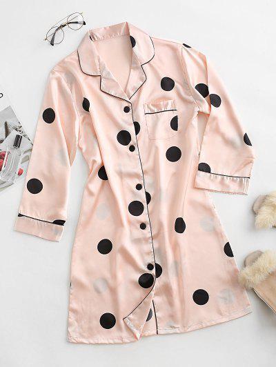 Polka Dot Pocket Satin Pajama Dress - Light Pink M