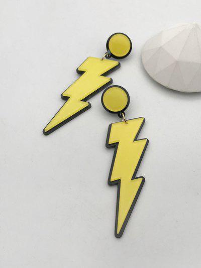 Cartoon Lightning Acrylic Earrings - Yellow