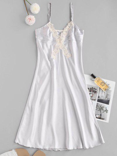 Lace Insert Satin Pintuck Pajama Dress - Light Blue L