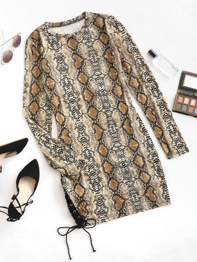 Snake Print Lace Up Long Sleeve Mini Dress - Coffee S