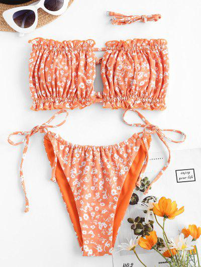 ZAFUL Ditsy Print Tie Side Ruched Bikini Swimsuit - Dark Orange M