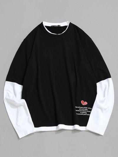 壊れたハートグラフィックプリントコントラストTシャツ - 黒 2xl