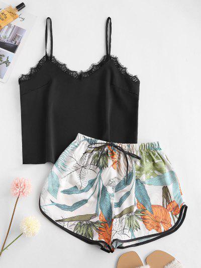 Lace Insert Tropical Leaf Pajama Shorts Set - Black L