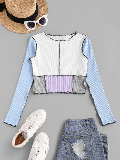 Topstitch Color Blocking Ribbed Lettuce Tee - Light Blue S