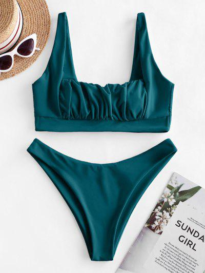 ZAFUL Ruched Square Neck High Cut Bikini Swimsuit - Deep Green L