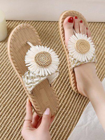 Flower Detail Braided Flip Flops - Beige Eu 38