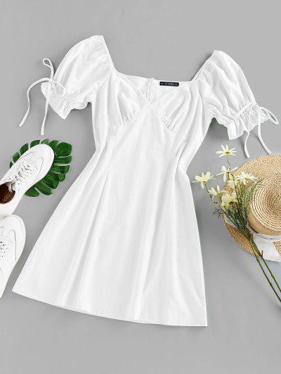 ZAFUL Mini-Robe à Manches Bouffantes Avec Nœud Papillon à Volants - Blanc M