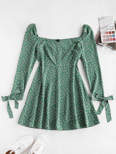 ZAFUL Ditsy Print Tie Cuff Mini Dress - Light Sea Green L
