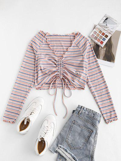 ZAFUL Ribbed Striped Cinched Lettuce Trim T-shirt - Light Pink M