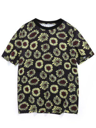 ZAFUL Sonnenblumendruck Urlaub T-Shirt - Schwarz S