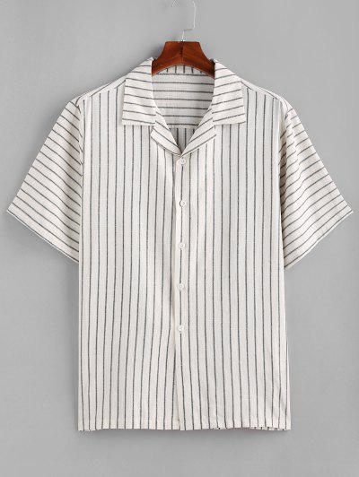 ZAFUL Stripes Button Down Shirt - Crystal Cream M