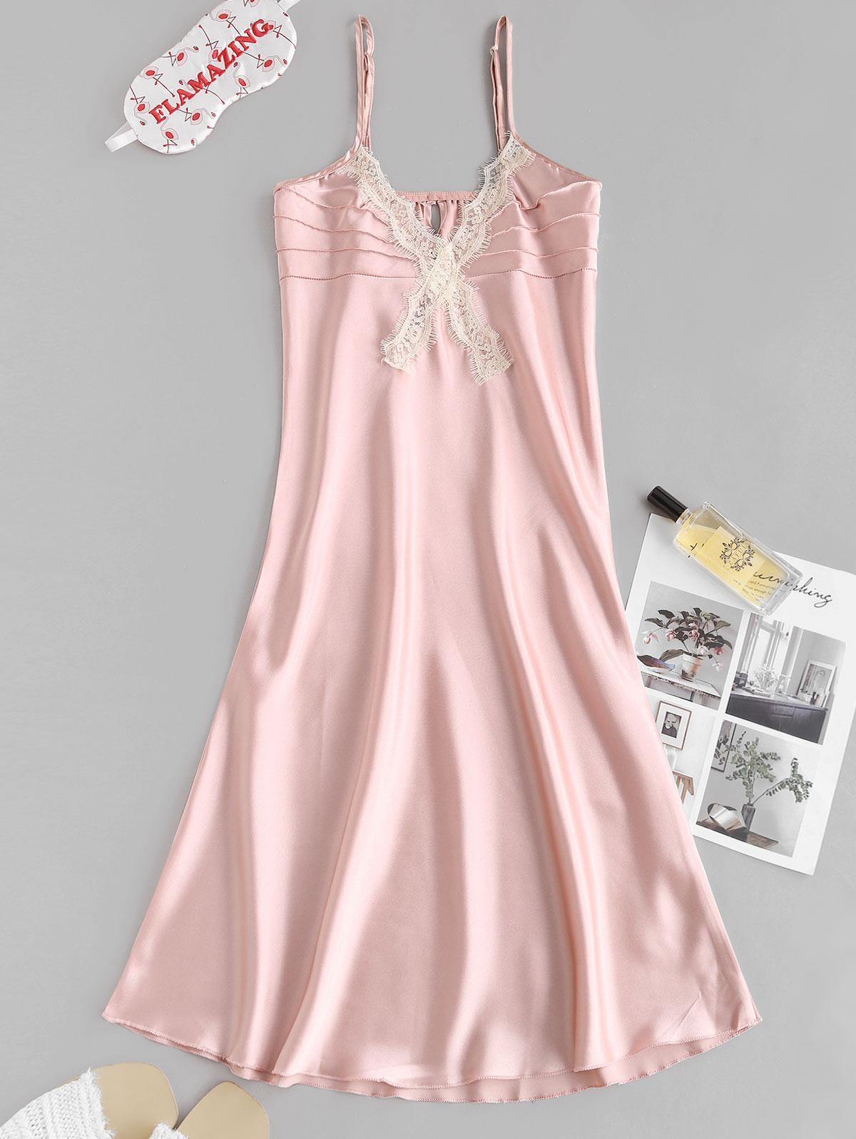 Lace Insert Satin Pintuck Pajama Dress