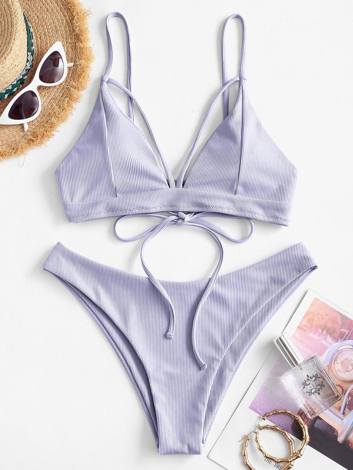 Ribbed Strappy Padded Bikini Swimwear