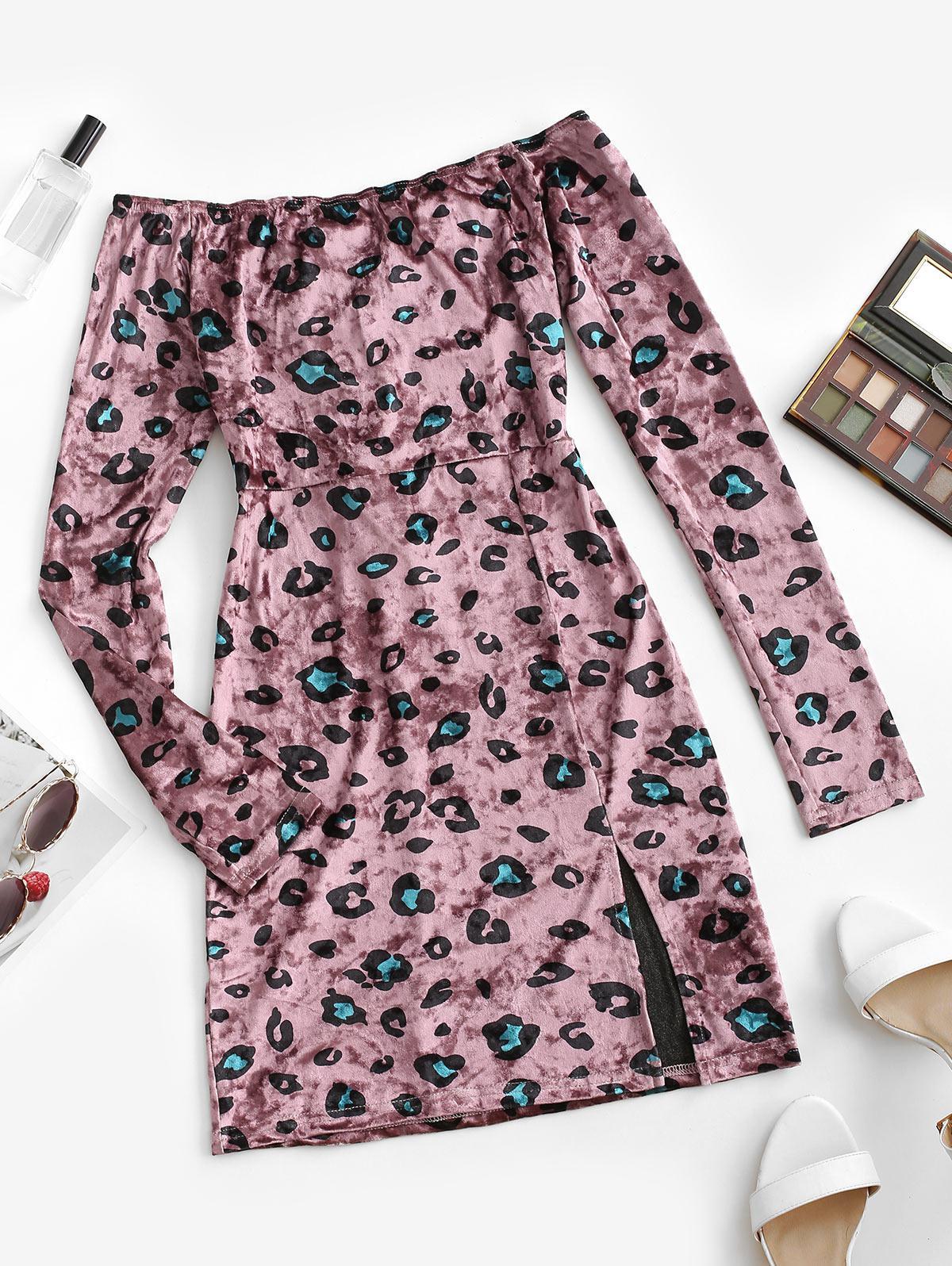 Leopard Velvet Lace Up Off Shoulder Dress