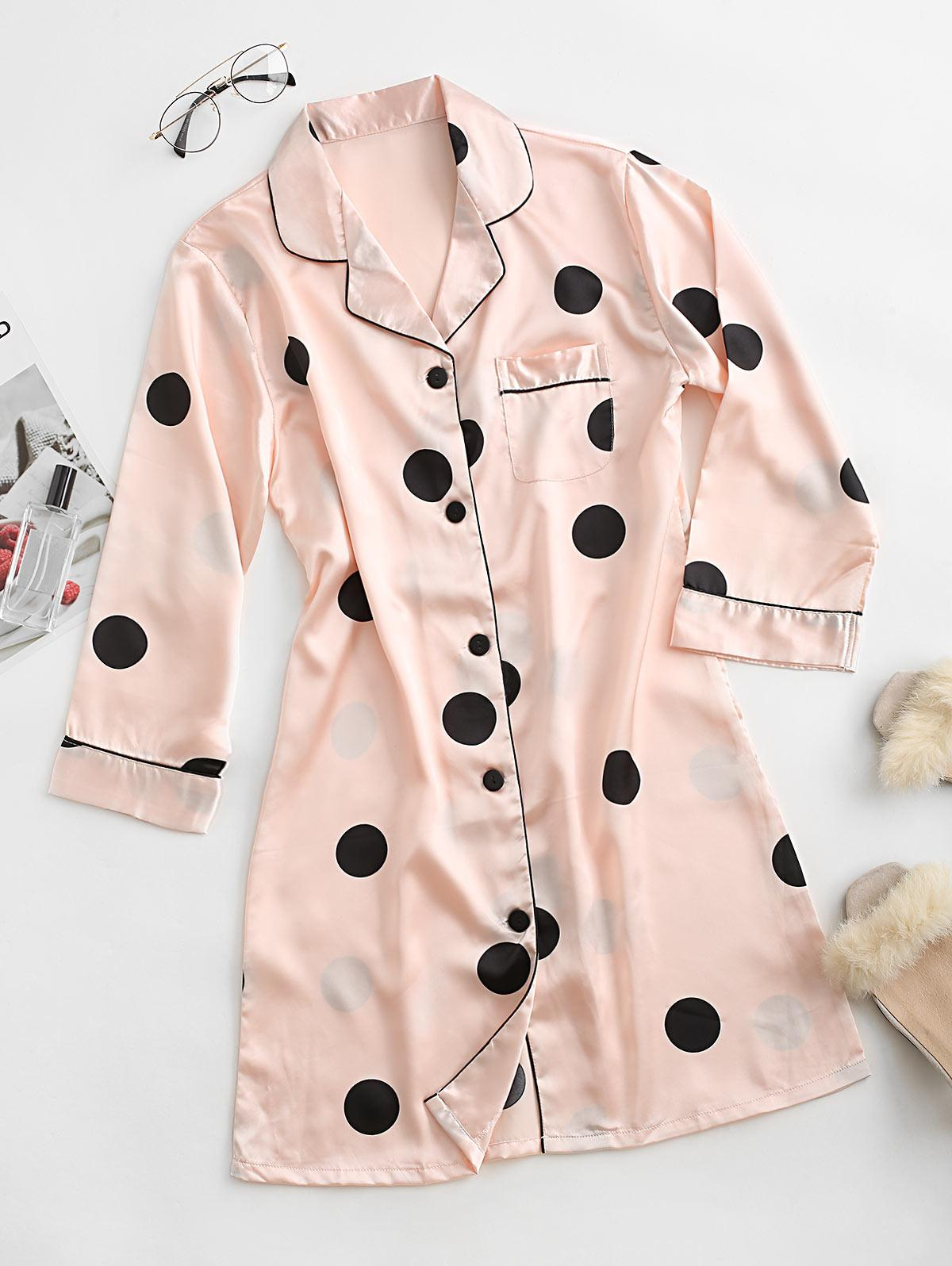 Polka Dot Pocket Satin Pajama Dress