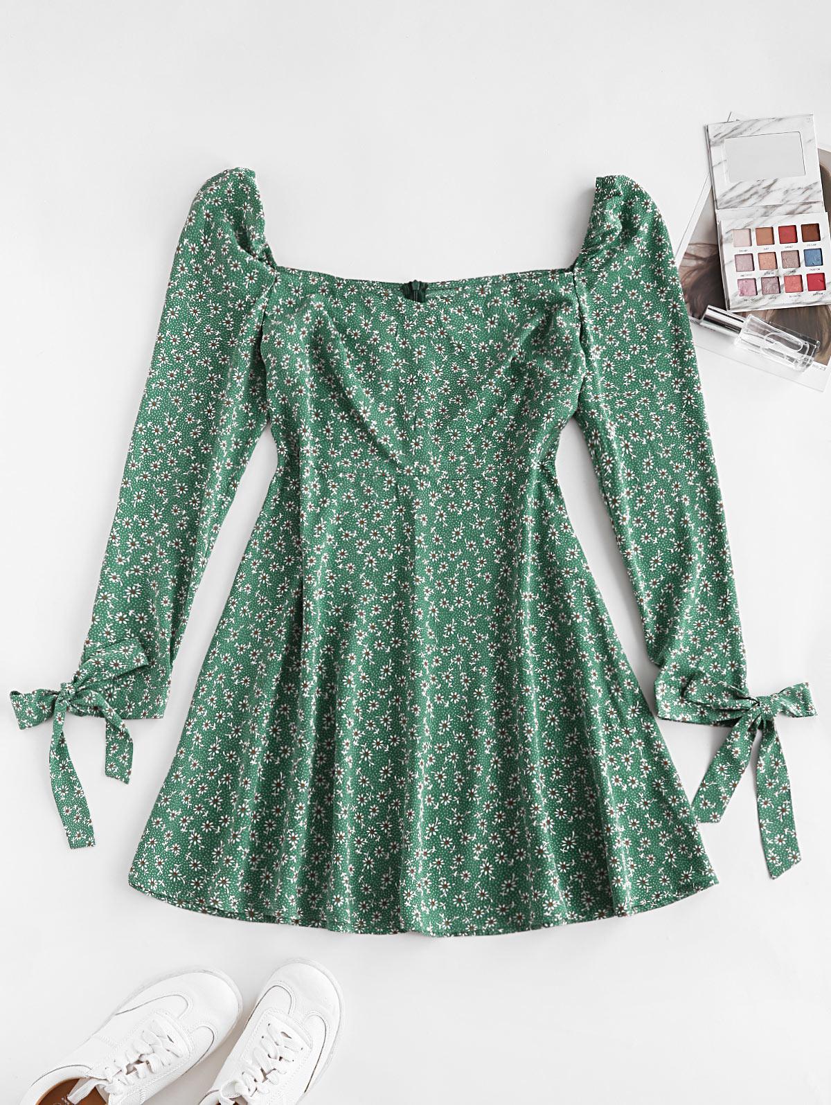 ZAFUL Ditsy Print Tie Cuff Mini Dress