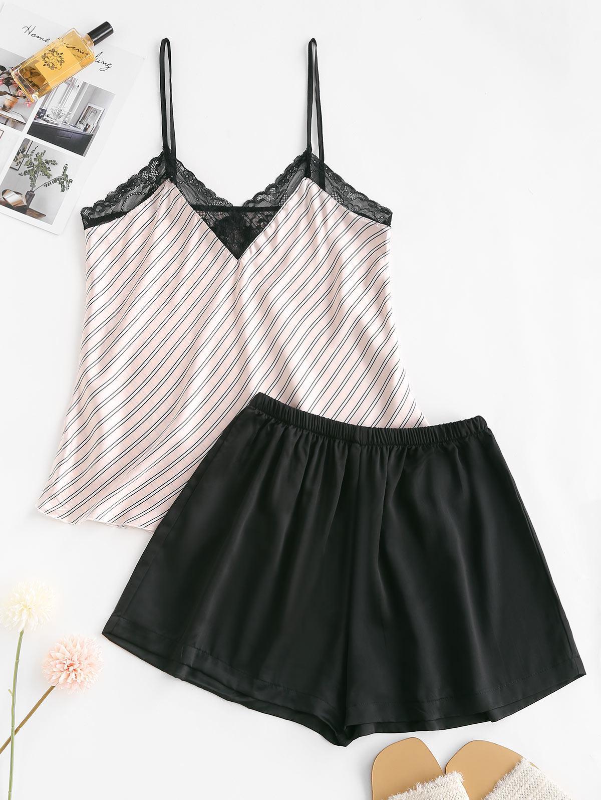 Lace Insert Striped Satin Pajama Shorts Set