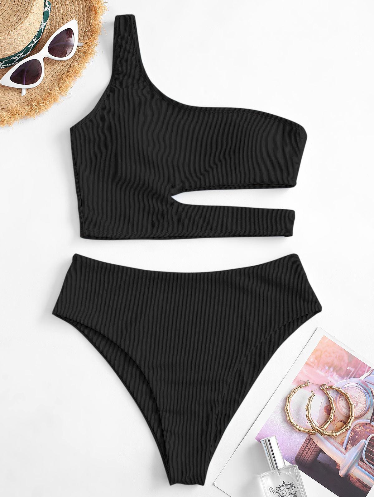 zaful One Shoulder Tankini Swimwear