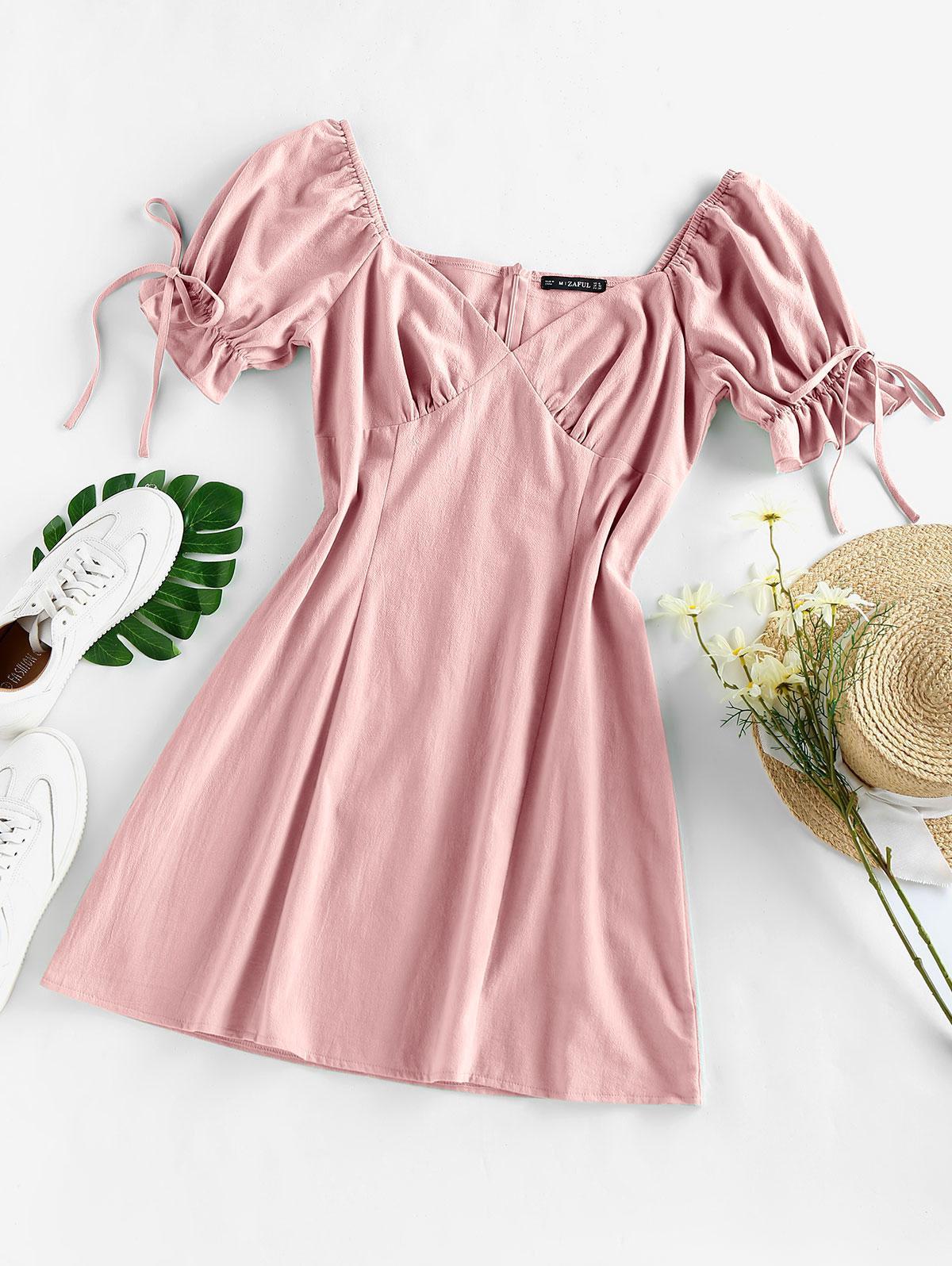 ZAFUL Puff Sleeve Ruffle Bowknot Mini Dress