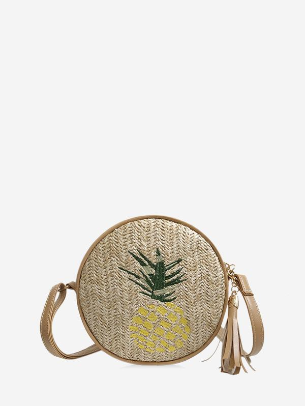 Pineapple Leaf Graphic Straw Round Crossbody Bag