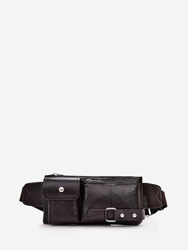 Solid Pockets Crossbody Chest Bag