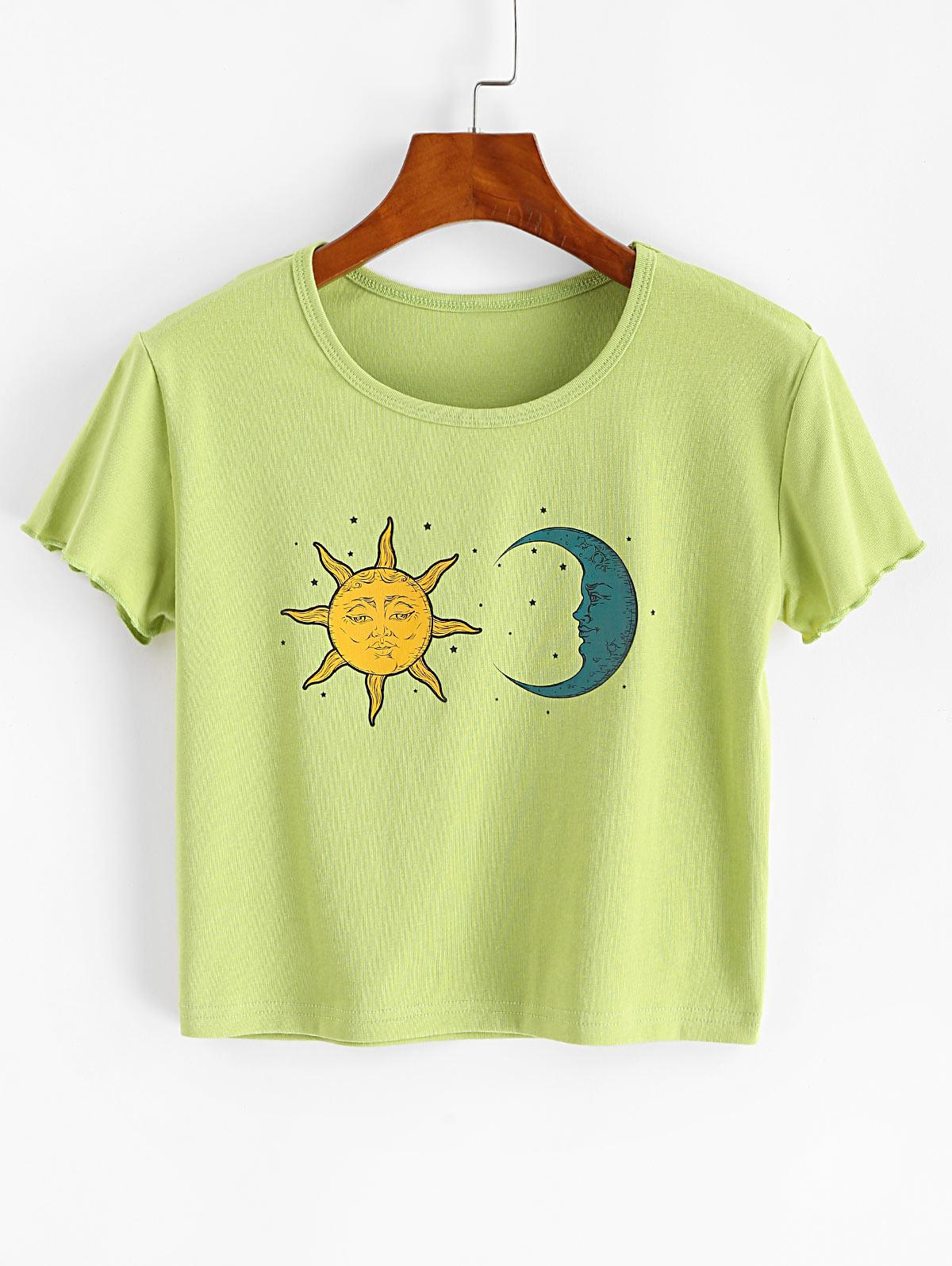 Lettuce Moon and Sun Graphic Crop Tee