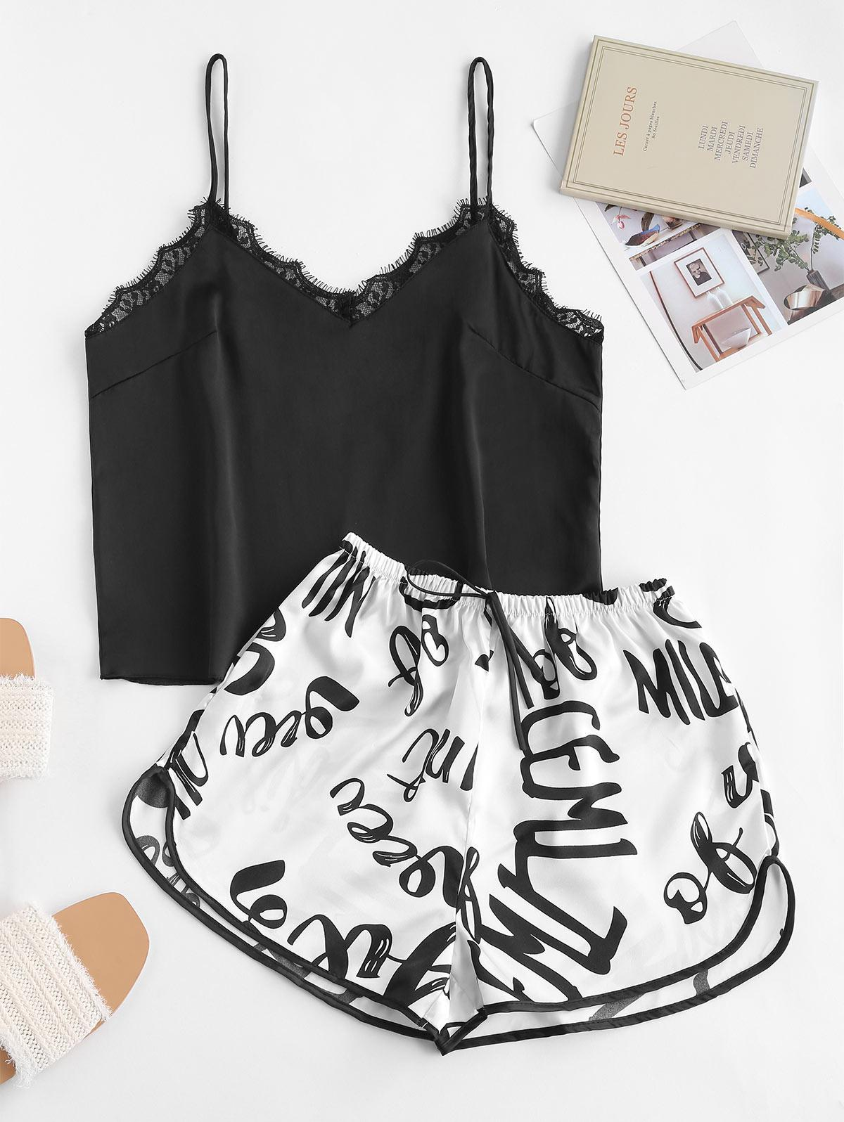 Letter Graphic Lace Insert Pajama Shorts Set
