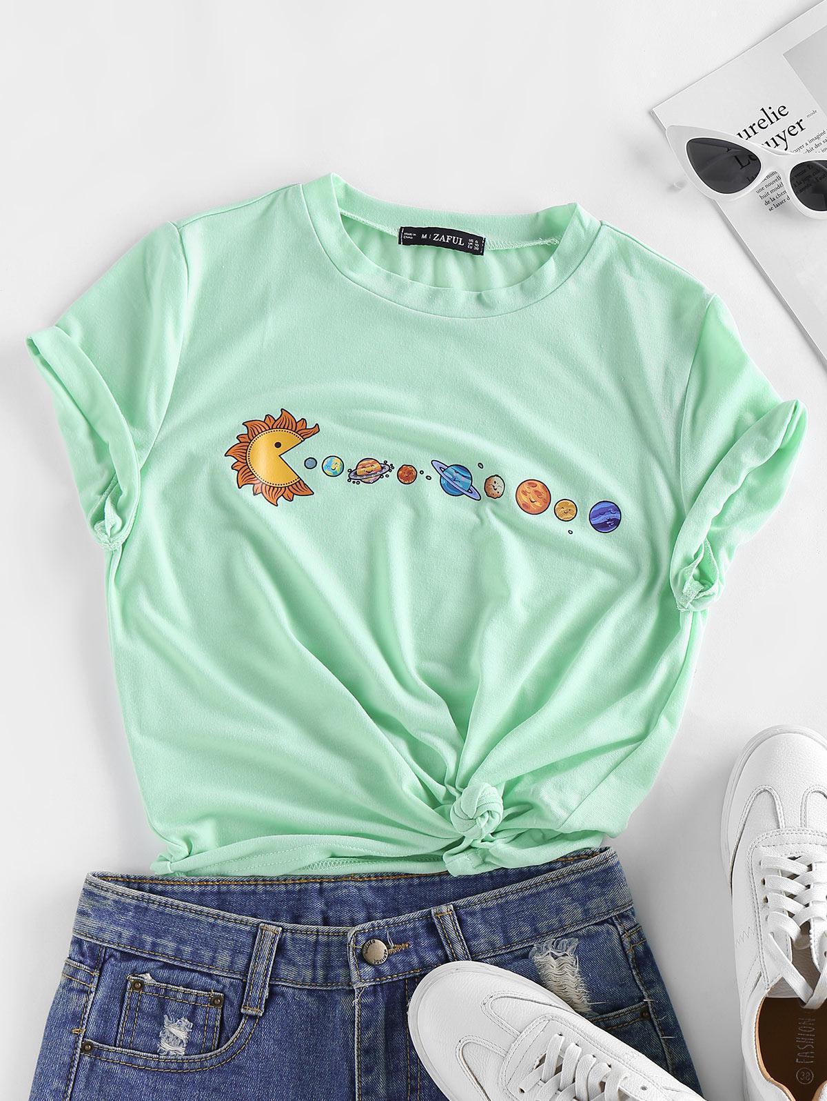 ZAFUL Planet Print Short Sleeve T-shirt