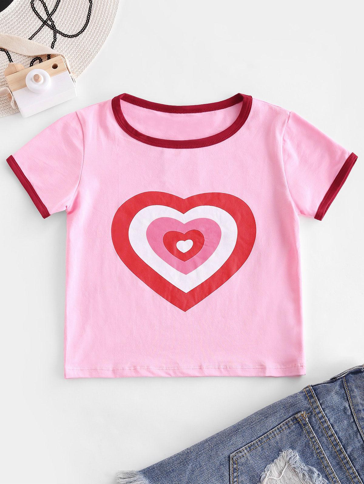 Heart Print Crop Ringer T-shirt