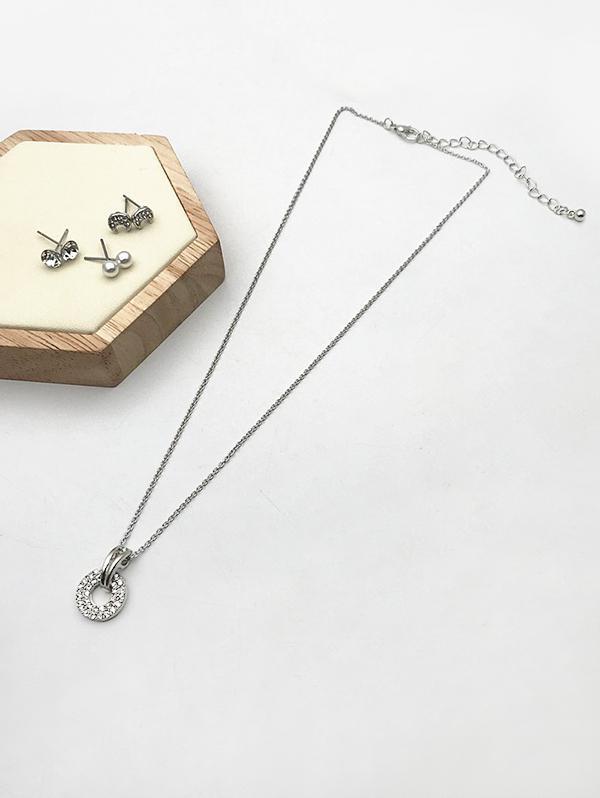 Rhinestone Necklace Earrings Set