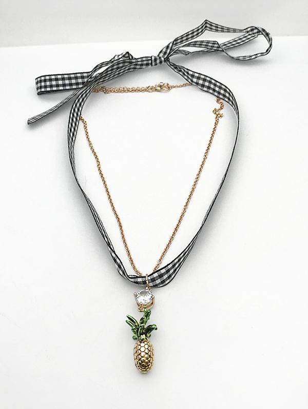 Plaid Print Pineapple Shape Layered Pendant Earrings