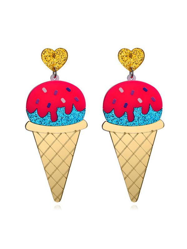 Cartoon Ice Cream Glitter Earrings