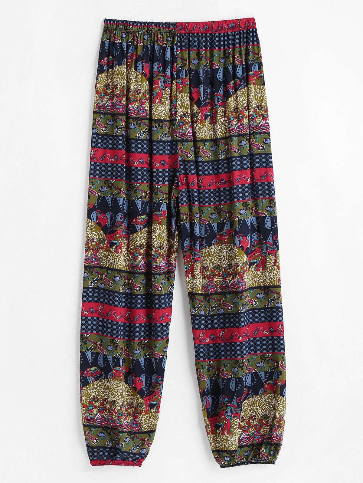 High Waisted Bohemian Printed Ninth Jogger Pants