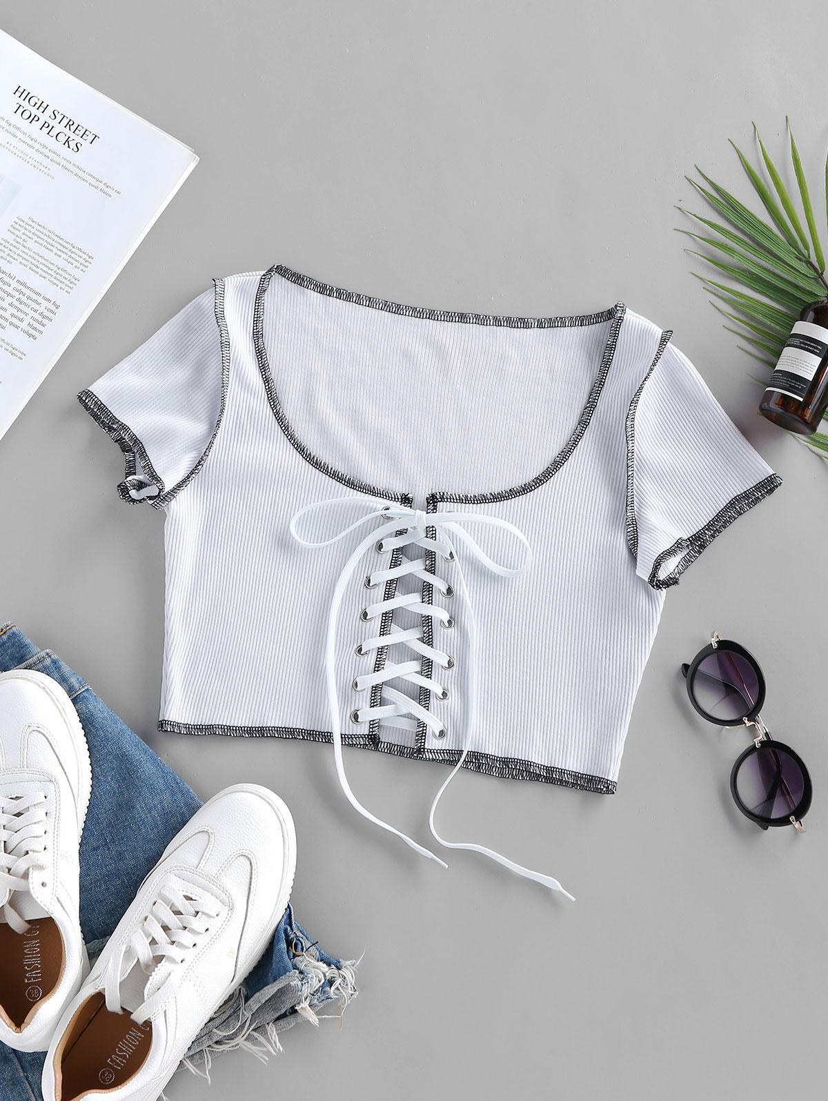 Lace Up Stitching Ribbed Crop T Shirt