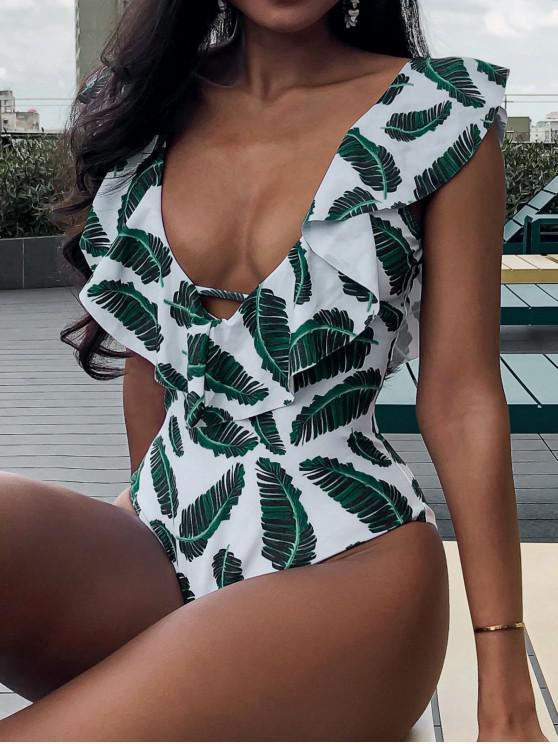 online ZAFUL Leaf Print Ruffle Plunging Swimsuit - MULTI-B M